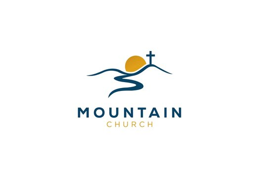 church logo designs mountain with sun