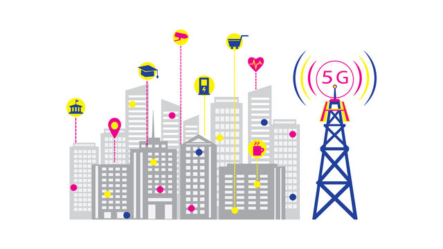Smart city and 5 G network, fifth generation wireless internet, cell tower distributes Internet to the whole city,  vector illustration.