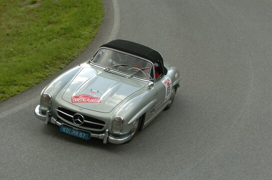 Mercedes Benz 300 SL Roadster, vintage sportscar from germany at the Ennstal Classic in Austria