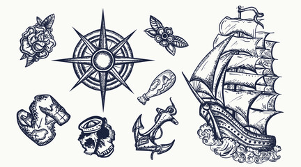 Pirates elements. Tattoo vector collection. Ship in storm,  compass, anchor, rum, treasure island map, swallows. Sea adventure set