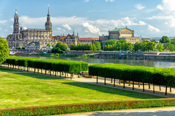 Dresden and Elbe river in Saxony