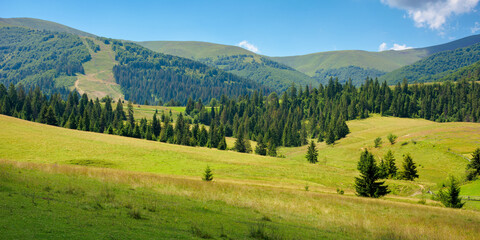 summer landscape of rural valley. beautiful panoramic countryside in the morning. cloud sitting on the mountain ridge. beautiful sunny weather.