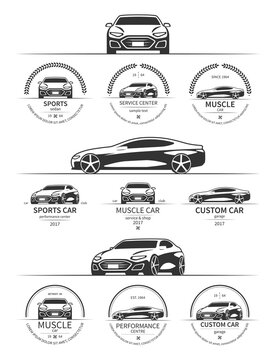 Set of modern sports car logo, emblems, badges isolated on white background. Vector illustration.