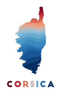 Corsica map. Map of the island with beautiful geometric waves in red blue colors. Vivid Corsica shape. Vector illustration.