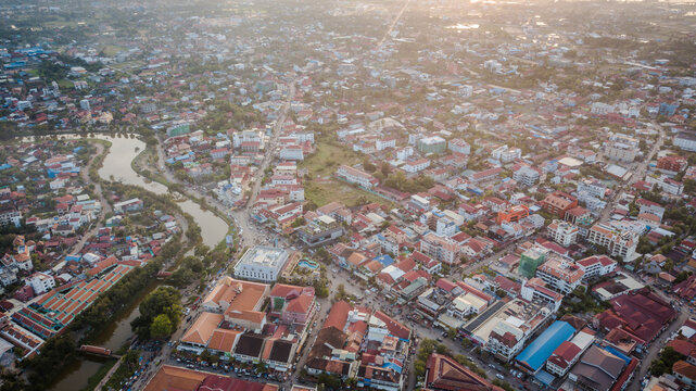 Aerial drone photograph of Siem Reap, Cambodia.