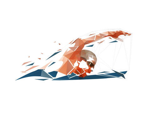 Swimming, swimmer low poly logo, isolated geometric vector illustration, crawl