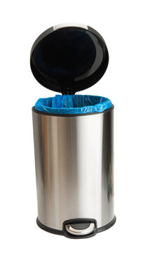 trash bin with stainless steel isolated