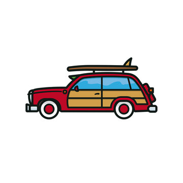 Woody Wagon surf trip automobile vector illustration for National Woody Wagon Day on July 18. Isolated surfer car symbol.