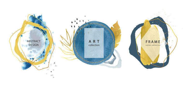 Set of abstract frames with hand drawn watercolors shapes and tropical leaves.Minimal template for creative designs, card, invitation.