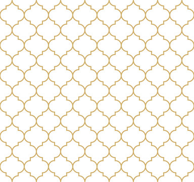 Moroccan pattern vector in gold and white. Decorative seamless motif for wallpaper, textile, or packaging. Traditional classic luxury design. Simple geometric ornament for fashion or home print.