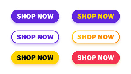 Wall Mural - Shop now. Set of button shop now or buy now. Modern collection for web site. Vector illustration.