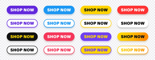 Shop now. Set of button shop now or buy now. Modern collection for web site. Vector illustration.