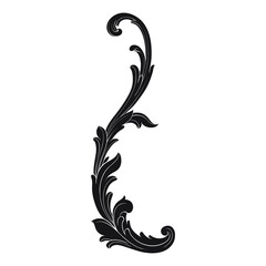 Vintage Ornament Element in baroque style with filigree and floral engrave the best situated for create frame, border, banner. It's hand drawn foliage swirl like victorian or damask design arabesque.