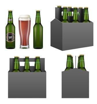 Dark beer pack mockup set, vector illustration isolated on white background. Realistic beer bottles, mug and six pack cardboard box with handle full of bottled alcoholic beverage.