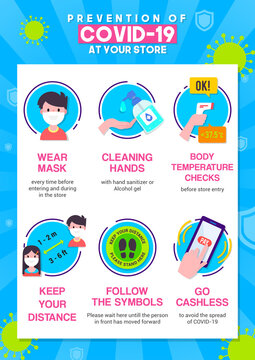 Prevention of COVID-19 at store infographic poster vector illustration. Coronavirus protection flyer