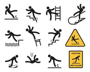 Falling people. Simple silhouette people injury slipping on wet floor, tripping. Drop from altitude, fall down stairs and over edge, hazard, warning sign vector set