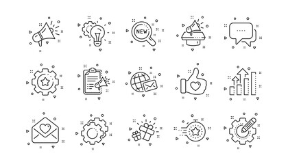 Business strategy, Megaphone and Representative. Brand social project line icons. Influence campaign, social media marketing, brand ambassador icons. Linear set. Geometric elements. Vector