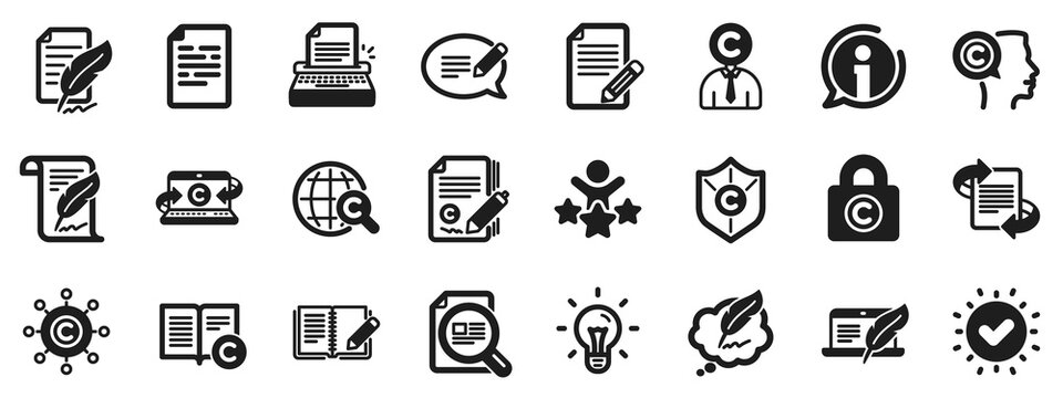 Set of Copyright protection, Signature and Feedback icons. Copywriting book icons. Typewriter, Idea and message copywriting. Write book, legal copyright, content author. Light bulb. Vector