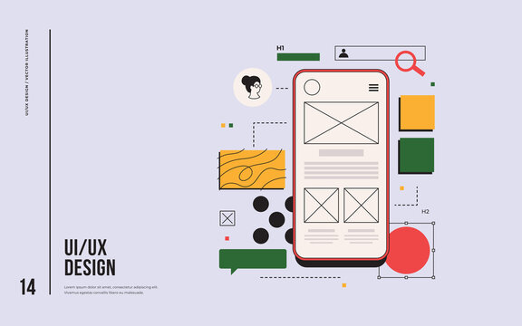 Layout of mobile application blocks on the smartphone screen. UX / UI design concept in web development. Mobile application interface template. Modern vector flat illustration.