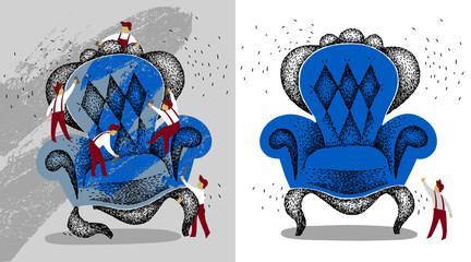 restoration of vintage furniture. antiques before and after repair. refinish vintage blue armchair. handmade illustration. people repair. repair team. Wall mural