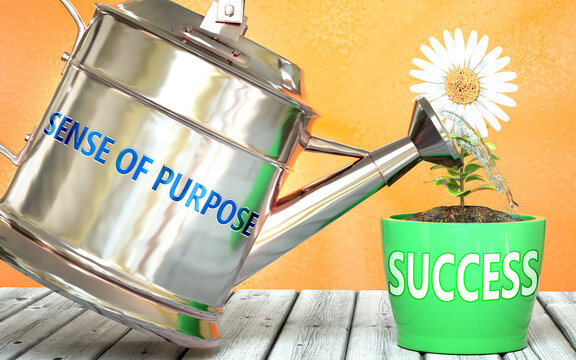 Sense of purpose helps achieve success - pictured as word Sense of purpose on a watering can to show that it makes success to grow and it is essential for profit in life, 3d illustration