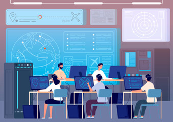 Flight control center. Airport command room, fly track controlling. Operators surveillance international transportation vector illustration. Flight control center, technology space room