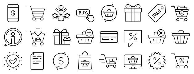 Gift box, Present coupon and Sale offer tag signs. Shopping line icons. Shopping cart, surprise gift and Delivery symbols. Speech bubble, Discount tag coupon , Credit card. Online sale. Vector - fototapety na wymiar