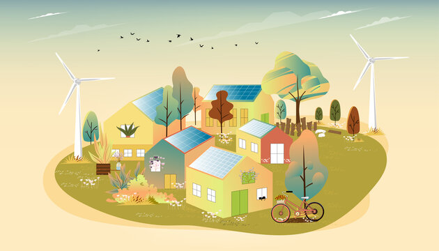 Vector of Green energy and eco friendly in small town with Solar house and windmill power, Urban landscape in village with happy pet relaxing and flowers blooming in the garden