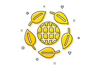 Bio cosmetics sign. Eco organic icon. Fair trade symbol. Yellow circles pattern. Classic eco organic icon. Geometric elements. Vector