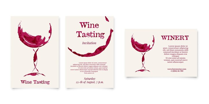 Set of Wine testing and Winery card in shape of wineglass, bottle stain