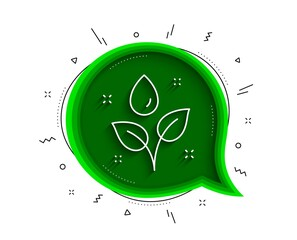 Plants watering line icon. Chat bubble with shadow. Leaves dew sign. Environmental care symbol. Thin line plants watering icon. Vector