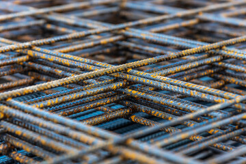 Iron reinforcing bar also known as rebar is stacked ready to be used in construction