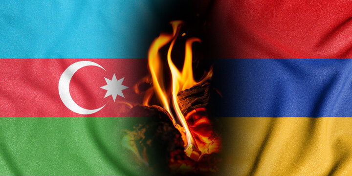 Trade and military conflict between Azerbaijan and Armenia. Two flags in a fiery flame with a cracked texture symbolize the forceful intervention and occupation of foreign territory.