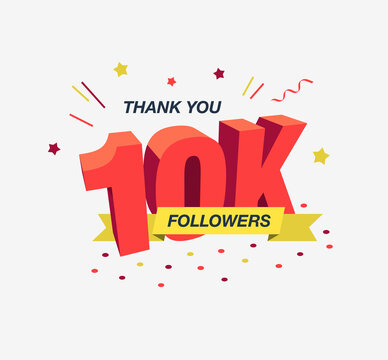 Thank you 10k or 10 000 social media followers, modern flat banner. Easy to use for your website or presentation.