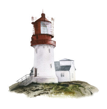 A lighthouse on the rock hand drawn in watercolor isolated on a white background. Watercolor illustration. Seaside illustration.