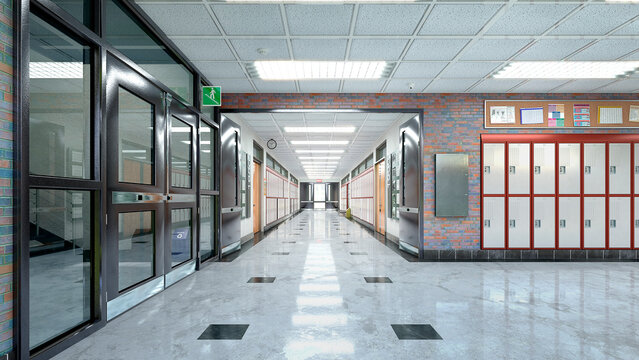 School hall and corridor interior. 3d illustration