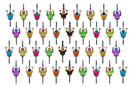 Cyclists group. Cycling bicyclists pattern. Top view of isolated cyclists people group in helmets riding bikes icon set on white background. Race sport activity concept