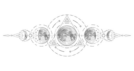 Magic moon with sacred geometry tattoo design. Phases of the moon, vector illustration