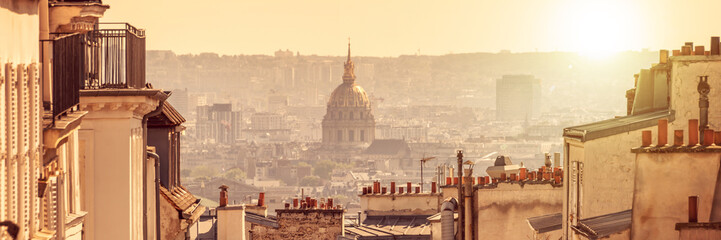 Wall Mural - Panorama of Paris, view on Dome des Invalides from the hill of Montmartre, in Paris France