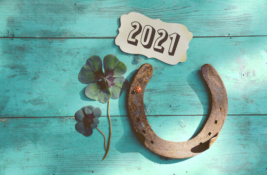 Horseshoe with lucky clover - Happy New Year 2021 greeting card