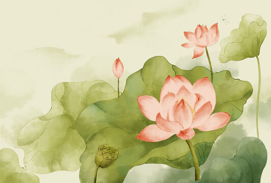 Chinese Feng Shui Ink Lotus .Classic Oriental Chinese Painting