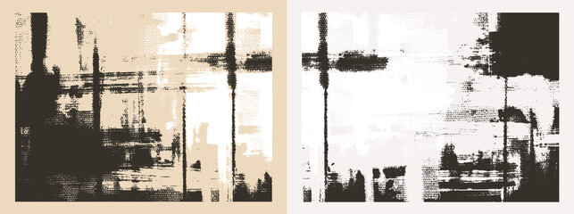 Cross hatching strokes on canvas. Oil, acrylic paint texture set. Abstract grungy backgrounds