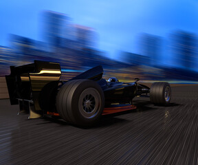 A race car speeding in a track with a city background