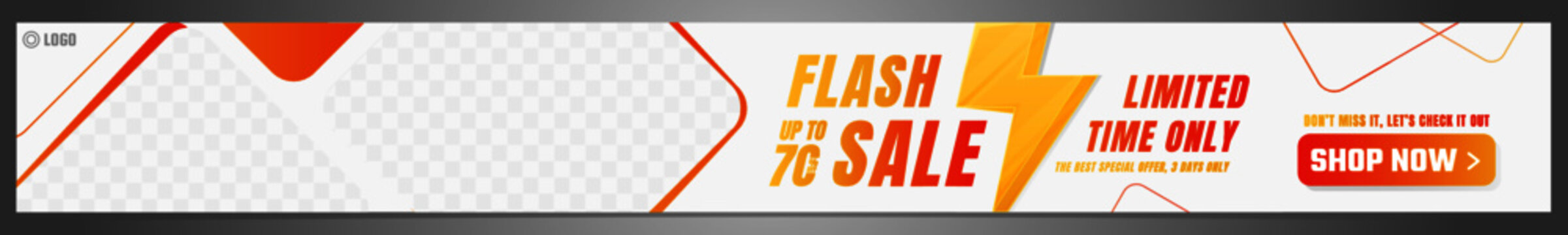Flash Sale Banner with thunder sign and space for your image. Standard size for leaderboard. Vector illustration