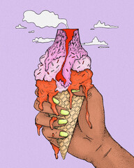 Illustration of woman's hand holding ice cream cone against sky