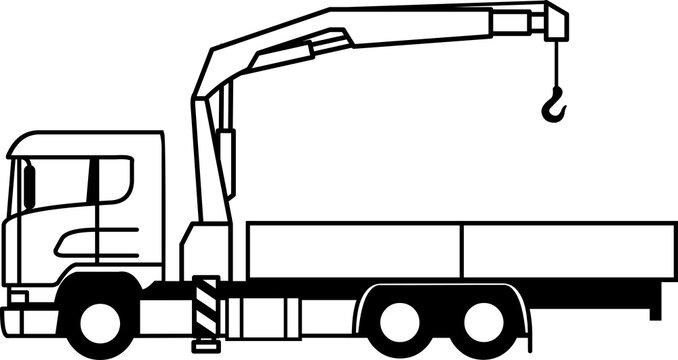 Flatbed truck - Flatbed - open platform - truck - loader - crane - european - 6x2 - monochrome - shape - silhouette - icon - profile - vector - load- Self Loading Truck Crane