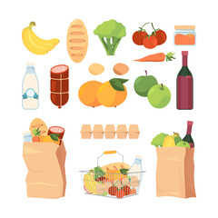Product bags. Shopping carts with different grocery food healthy fruits milk eat bread ingredients for cuisine vector pack collection. Bread and fruit, milk and apple, tomato vegetable illustration