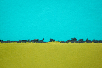 blue and green abstract landscape  - a collection of colorful handmade Indian papers produced from recycled cotton fabric