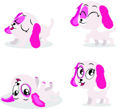 A cute white puppy with pink ears in four adorable poses