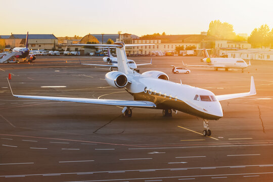 Private jet plane at airport